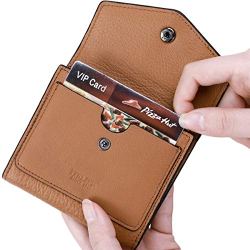 Brown Billfold - Itslife Women's Small Leather Wallet RFID Card Holder Compact Ladies Billfolds Flat Pocket Purse (Natural Light Brown)