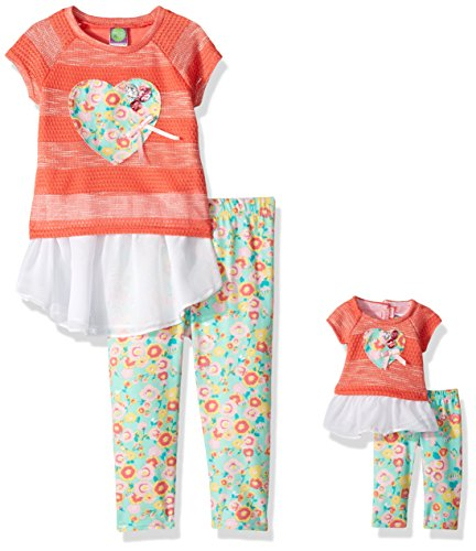 Dollie & Me Big Girls' Drop-Waist Tunic with Legging and Matching Doll Outfit, Peach/Multi, 10 -