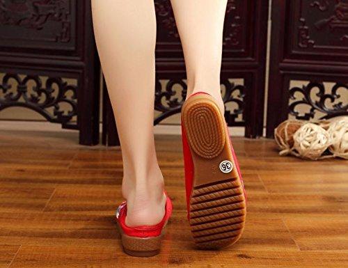 Femminile Comodi Casuali Infradito Moda Etnico Red Stile Ming Unico Scarpe Tendine Sandali Ricamate wPYpzA
