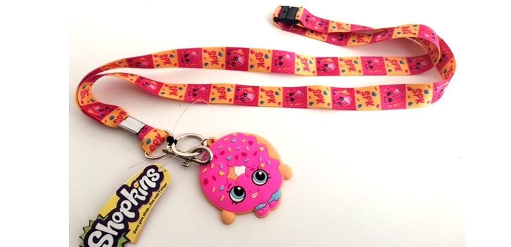 Shopkins Donut Lanyard keychain Holder with Charm SK