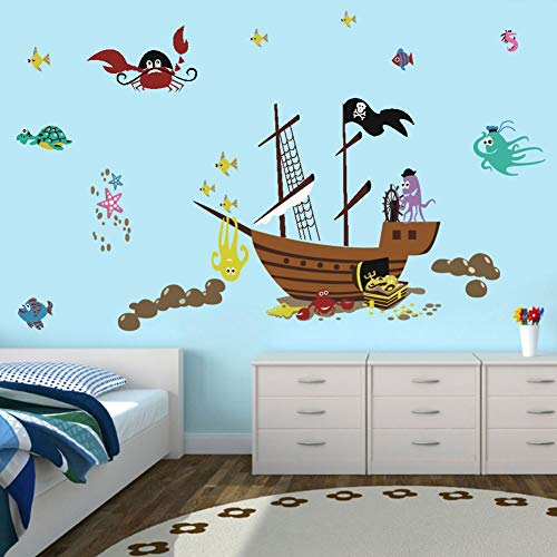 BUCKOO Ocean Animal Wall Decal, Pirate Ship Wall Decal, Nautical-Themed Party Decoration,Nursery Baby Playroom Room Decor
