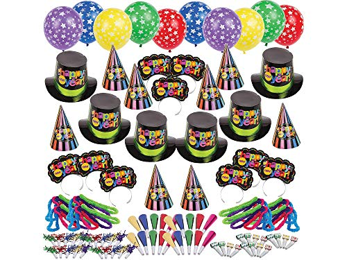 Party City Bright Star New Year's Eve Kit for 200, Includes Cone and Top Hats, Tiaras, Foil Horns, Leis and -