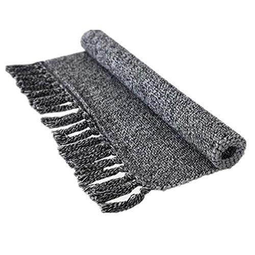 USTIDE Gray Hand Woven Rug Cotton Reversible Rug Entryway for Laundry Room/Kitchen/Bathroom/Bedroom Doormat, Machine Washable, Environmental Gray&Black 23.6