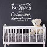BATTOO Joshua 1:9 Be strong and courageous - Nursery Wall Decal Quote Arrows Vinyl Wall Decal - Bible Verse Boy Room Scripture Wall Decal Vinyl Lettering(white, 33''WX30''H)