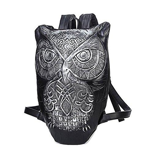 Top Shop Personality Unisex Leather 4D Owl Purse Satchel White Backpack - London Beckham Shop Victoria
