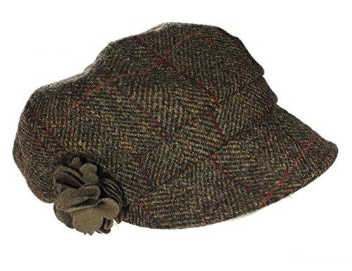 Mucros Women's Newsboy Cap Brown Herringbone 100% Wool Made in Ireland (Alpaca Warm Wool Cap)