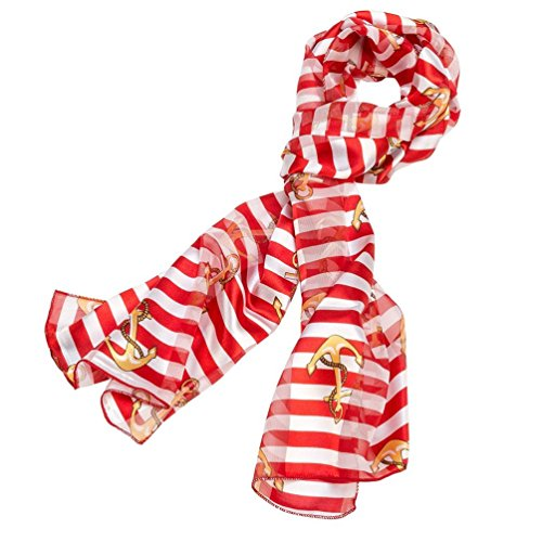 Stripe Anchor Scarf Red