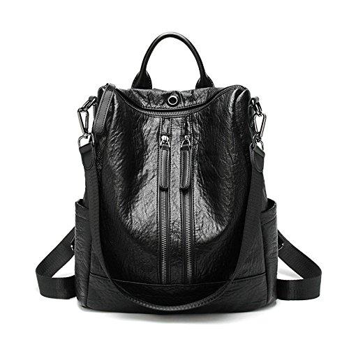 sac sac Moyen en dos Grand sac sac femmes Vintage ville dos les pour cuir à noir à véritable Black à Zipper dos en dos à occasionnel chaud cuir sac quotidien double 0rd0UxqW