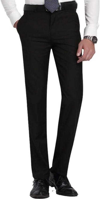 Qingsb Slim Fit Traje De Frente Plano Para Hombre Pantalon Separado Boda Formal Business Pantalones Rectos Para Hombre Pantalones De Vestir De Oficina Delgada Gris Claro Negro 38 Amazon Es Hogar