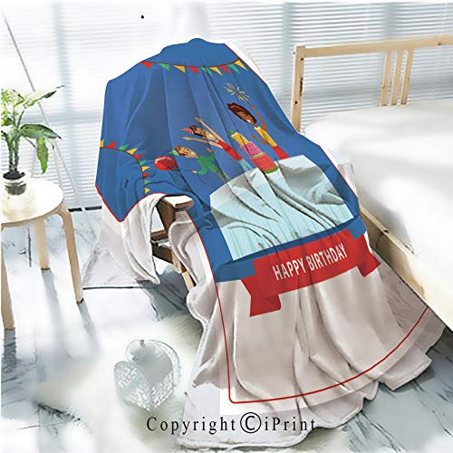 Soft Spoken Banner - Printed Soft Blanket Premium Blanket,Cute Kids Celebrating Birthday with Cake Happy Birthday Banner Flat Vector Element for Website or Mobile app Microfiber Aqua Blanket for Couch Bed Living Room,W5