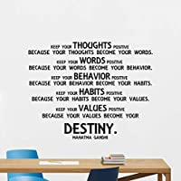 N.SunForest Mahatma Gandhi Quote Wall Decal Keep Your Thoughts Positive Sayings Lettering Poster Gift Vinyl Sticker Inspirational Decor Art Print 131bar
