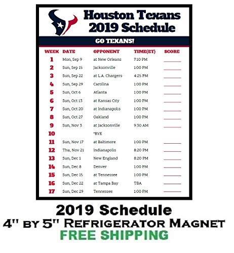 a4732d7c Amazon.com: Houston Texans NFL Football 2019 Schedule and Scores ...