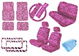 zebra pink car accessories - Premium New Style Car Truck PINK Zebra 18pc Low Back Front Seat Covers, Bench Seat Cover with Head Rest, Steering Wheel Cover with Shoulder Pads & 4pc Front & Rear Floor Mats & 2pc Pair License PLates Bonus Detailing WashMitt