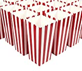 white and blue popcorn bags - Set of 50 Popcorn Favor Boxes - Large Paper Popcorn and Candy Containers, Party Supplies for Movie Nights, Birthday, Baby Shower, Carnival Parties, Classic Red and White Stripes - 3.7 x 7.8 x 3.7 Inch