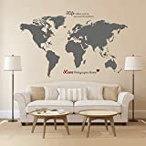 Timber Artbox Huge World Map Wall Decal with Quotes - Best for Adventurers ...