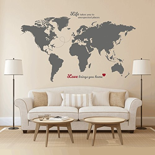Contemporary House Letter (Timber Artbox Huge World Map Wall Decal with Quotes - Best for Adventurers and)