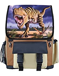 Striped T-Rex Dinosaur School Backpack for Boys, Girls, Kids