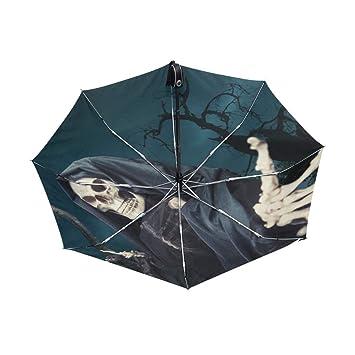 FOOFLH Hombres Automático Paraguas Negro Death Angel 3 ...
