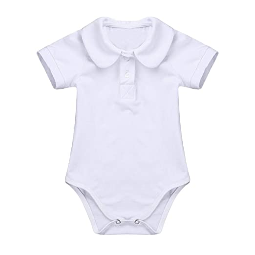 e174736108d46 dPois Infant Baby Boys  Short Sleeves Lapel Romper Jumpsuit One-Piece  Christening Baptism White