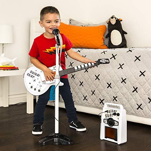 Best Choice Products Kids Electric Guitar Star Play Set W/ App Connections, Microphone, & Amp Musical Play Set (White)