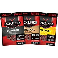 Jack Link's Beef Jerky Variety Pack – Includes Original, Teriyaki, and Peppered Beef Jerky, Great for Lunch Boxes, Good Source of Protein – Pack of 15, 1.25 Oz Bags - 96% Fat Free, No Added MSG