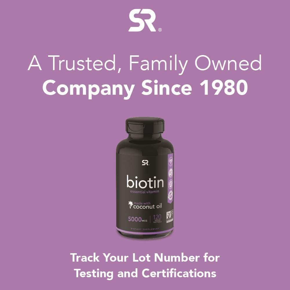 Biotin (5,000mcg) with Organic Coconut Oil   Supports Healthy Hair, Skin & Nails in Biotin deficient Individuals   Non-GMO Verified & Vegan Certified (120 Veggie-Softgels)