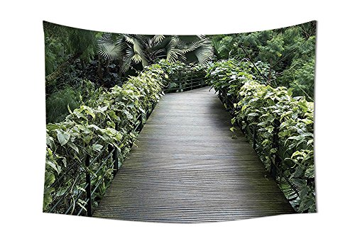 House Decor Collection Scenic Wooden Pathway In Singapore Botanical Garden Fence Rainforest Tropical Bedroom Living Room Dorm Wall (Botanical Garden Brooklyn Halloween)