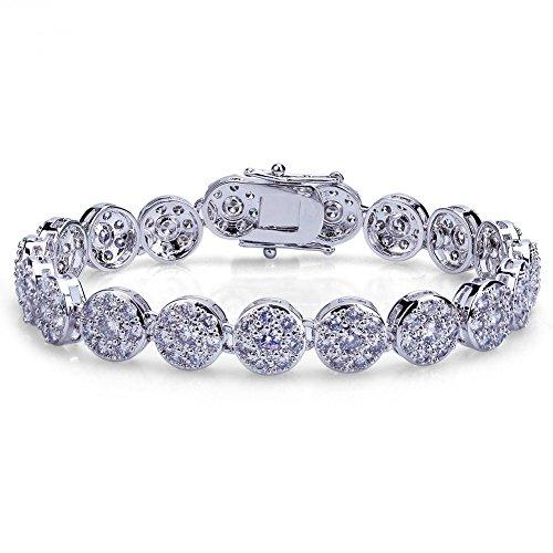 - TOPGRILLZ Hip Hop 18K Iced Out CZ Zircon Solitaire Cluster Lab Diamond Tennis Link Bracelet (Silver 8