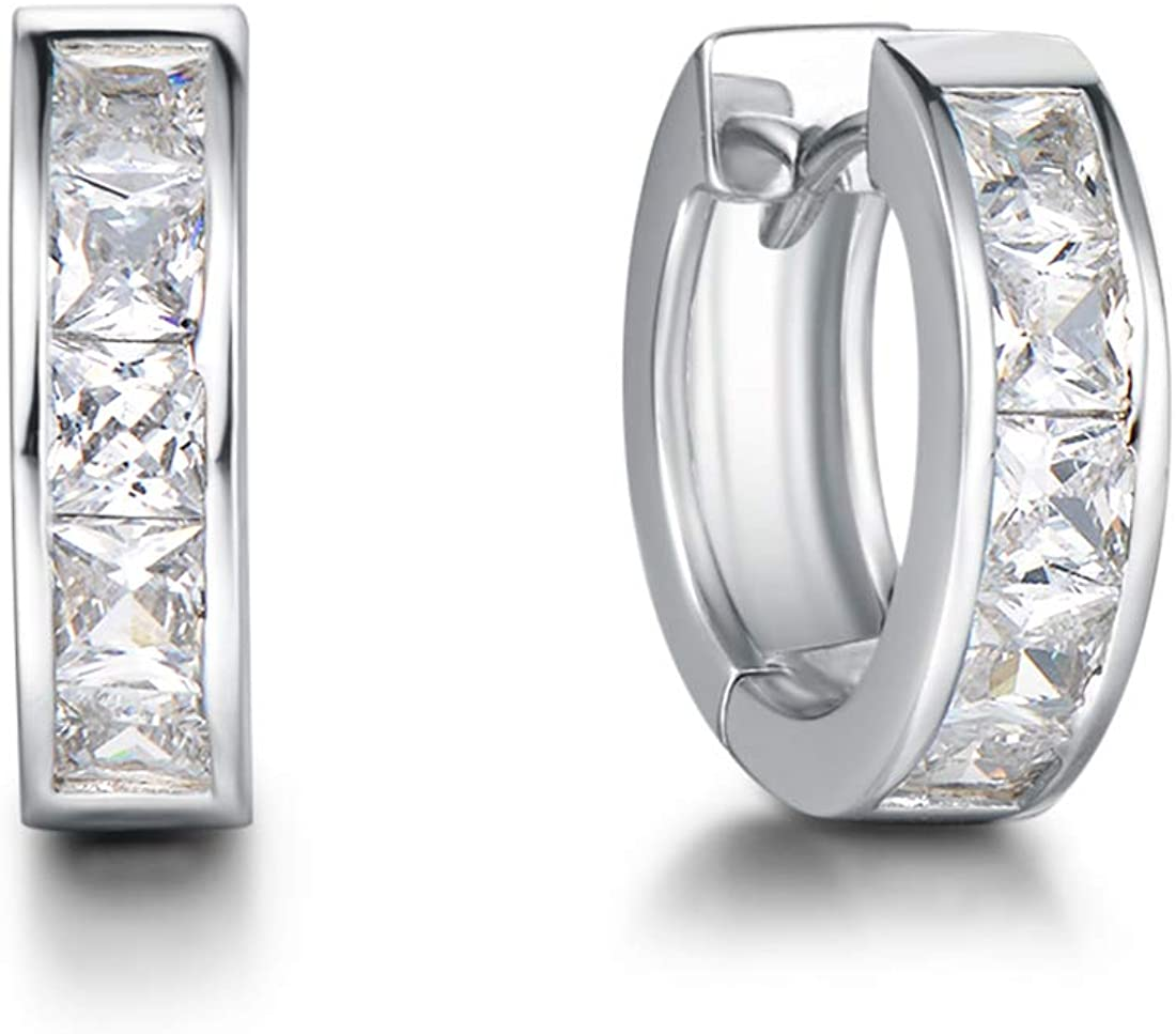 Carleen Sterling Silver Channel Setting Princess Cut Sparkling CZ Cubic Zirconia Simulated Diamond Click-top Medium Huggie Hoop Earrings Fine Jewelry For Women Girls Diameter 15/20mm Thick 3/4mm