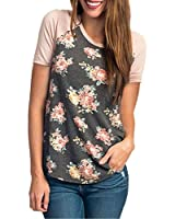 CEASIKERY Women's Blouse 3/4 Sleeve Floral Print T-Shirt Comfy Casual Tops For Women,Short Sleeve Floral 002,(US 18-20) XX-Large