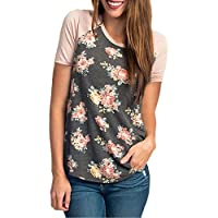 CEASIKERY Women's Blouse 3/4 Sleeve Floral Print T-Shirt Comfy Casual Tops for Women
