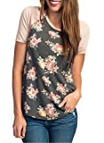 CEASIKERY Womens Blouse 3/4 Sleeve Floral Print T-Shirt Comfy Casual Tops For Women Short Sleeve Floral 002 (US 4-6) Small