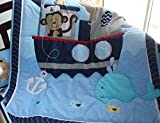 NAUGHTYBOSS Baby Bedding Set Cotton 3D Embroidery Monkey Elephant Navigation Blue Sea Whale Quilt Bumper Mattress Cover 7 Pieces Set Blue Color