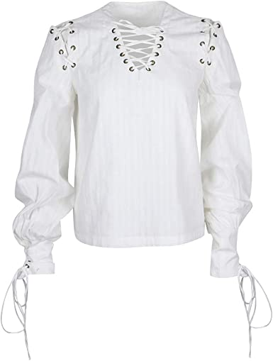 F Fityle Blusa de Mujeres Gótico Renacimiento Medieval ...
