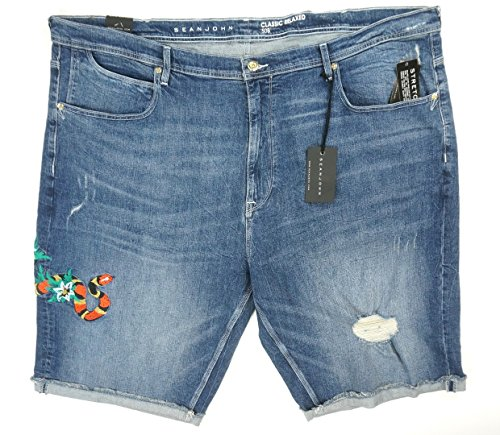 Sean John Men's Big and Tall Embroidered Five Pocket Denim Short, Rapture Wash, - Shorts And Embroidered Big Tall