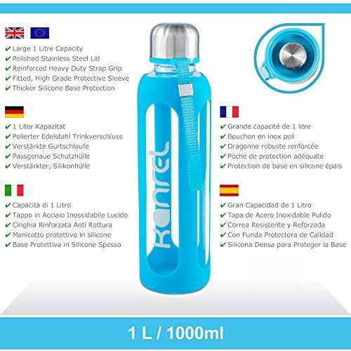 Botella Agua Cristal 1 litro / 1000 ml Grande con Funda de Silicona, Reutilizable, Libre BPA, Portatil, de Vidrio Ecológica para Deporte, Yoga, Acampar, ...