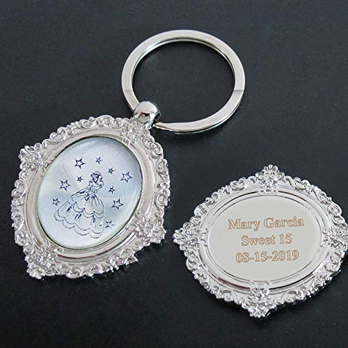 Personalized Quince Keychain Party Favor (12 PCS) Engraved Sweet 16 Metal Key Ring/Customized 15 Birthday Gift for Guest/Quince Party Favor]()