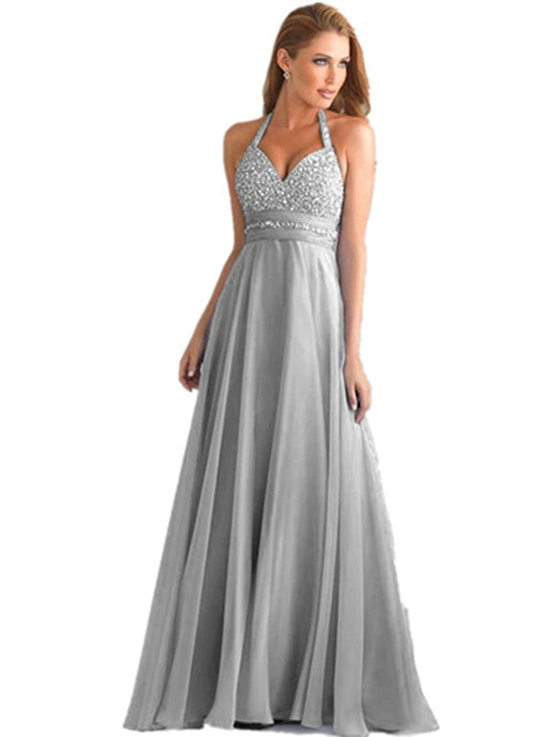 atopdress T8 GREY Evning helterneck prom sequined gown eveing dress