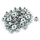 Uxcell a15040300ux0023 50Pcs 4 Prongs Zinc Plated T-Nut Tee Nut Fixing 3/16''-24 x 3/8'', Brass