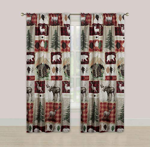 "HowPlumb Rustic Lodge Cabin 84"" Window Curtains Panel Pair Drapes Elk Deer and Bear"