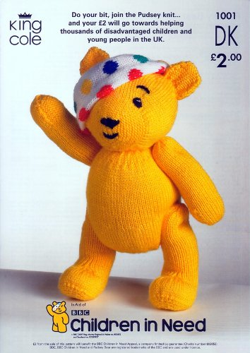 King Cole Children In Need Pudsey Bear Teddy Dk Knitting Pattern