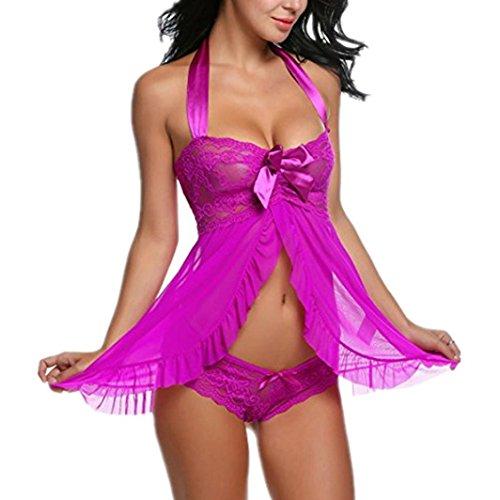 FAMILIZO Mujeres Lace Lingerie Babydoll Vestido Pijamas Ropa interior Ropa de dormir Camisones G-string Púrpura