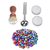 niceEshop(TM) 100 Ps European Retro Star Shape Sealing Wax with 1 Piece Wax Melting Spoon, 1 Piece Sealing Wax Stamp and 2 Pieces Wax