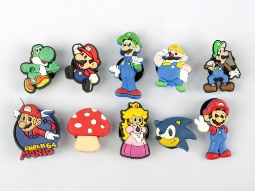 Set of 10 Nintendo Super Mario Brothers Shoe Charms, Buttons, Widgets, for Bracelets and More Featuring Princess Peach, Yoshi, Wario, Luigi, and Goomba