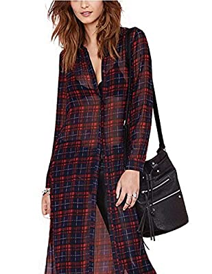 Haoduoyi Womens Soft Long Sleeve Side Split Plaid Maxi Shirt Dress