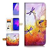 (for Samsung Note 9, Galaxy Note 9) Flip Wallet Case Cover & Screen Protector Bundle - A21092 Dragonfly