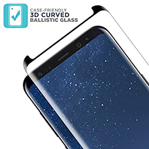 Samsung Galaxy S8 Plus Glass Screen Protector from Tech Armor, 3D Curved Ballistic Glass, Case-Friendly, Black - [1-Pack] from Tech Armor