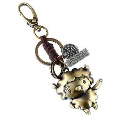Amazon com: Metal Cute Keychains Leather Vintage Charm Key