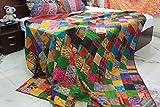 Americana Decor's Silk Patch work Patola Kantha Quilt, Silk Sari Kantha Bedcover Blanket (90X108 INCH)