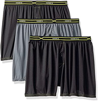 Hanes Mens 3-Pack X-Temp Performance Cool Checker Polyester Boxers